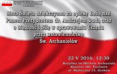 Msza Święta dziekczynna za opiekę Bożą nad prezydentem Andrzejem Dudą