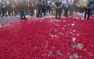Rzym-Wiedeń: deszcz płatków róż w uroczystość...