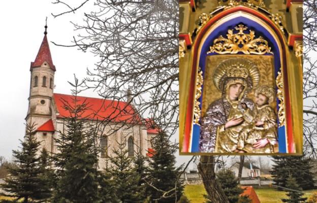 Obraz Matki Bożej z Dzieciątkiem i kościół w Ostrowcach