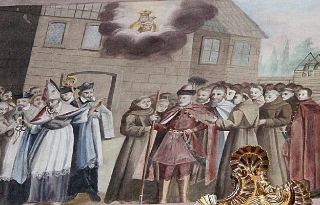Bp Maciej Pstrokoński wręcza klucze do kościółka z Cudownym Obrazem w Leżajsku ojcom bernardynom (malowidło z bazyliki leżajskiej)