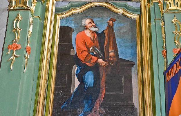 Odrestaurowany ołtarz z obrazem św. Barłomieja