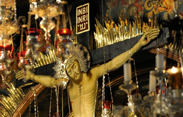 Jerozolima, Bazylika Grobu Pańskiego – Kalwaria: Krzyż z miejsca ukrzyżowania Jezusa