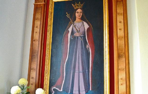 Wizerunek św. Jadwigi w ołtarzu bocznym świątyni