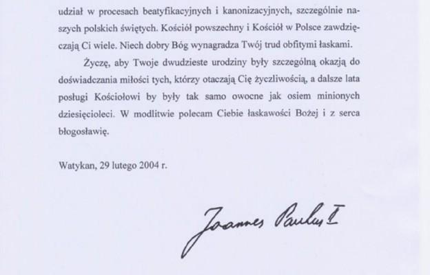 List Jana Pawła II do kard. Andrzeja Marii Deskura z okazji jego 80. urodzin, 29 lutego 2004 r.
