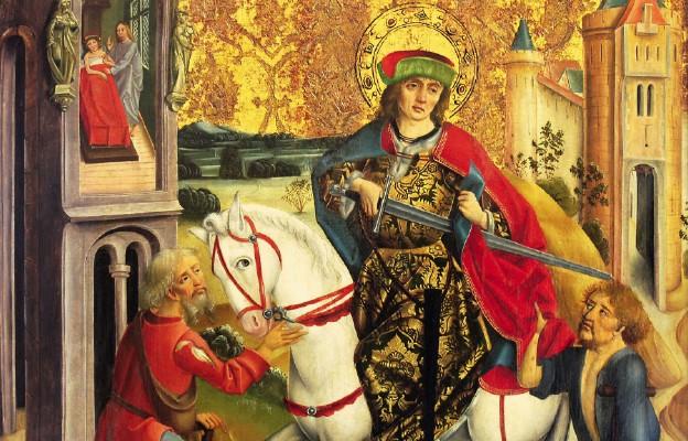 Święty Marcin i żebrak. Fragment obrazu węgierskiego malarza z końca XV wieku
