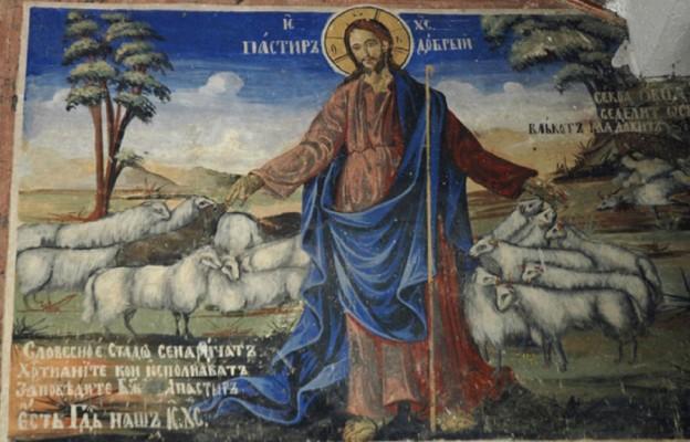 Prawosławny klasztor św. Jana Bigorskiego, Macedonia – Fresk przedstawiający Dobrego Pasterza (XVIII wiek)/Fot. Margita Kotas
