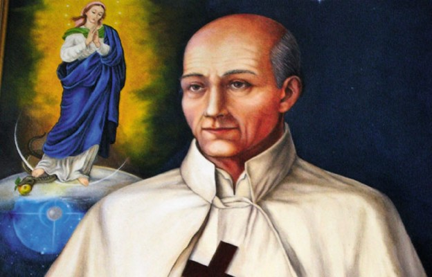 Stanisław Papczyński (jako orędownik dusz czyśćcowych przedstawiany jest z krucyfiksem) – obraz z jednego z podkarpackich kościołów