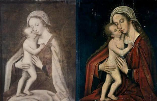 Odnaleziony obraz, kopia z wrocławskiej katedry (z lewej), oryginał Madonna z Dzieciątkiem