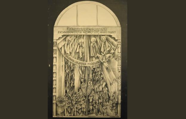 Szkic projektu nowych katedralnych drzwi autorstwa Czesława Dźwigaja