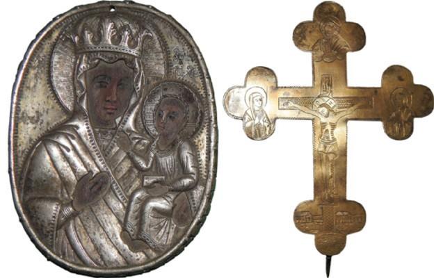 Krzyż i ikona napierśna ostatniego unickiego metropolity Jozafata Bułhaka (Muzeum Diecezjalne w Drohiczynie)