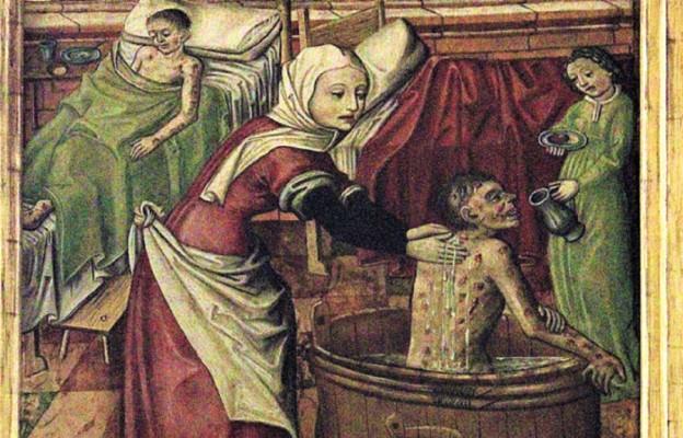 Św. Elżbieta Węgierska obmywająca trędowatego (fragment ołtarza z XV wieku)