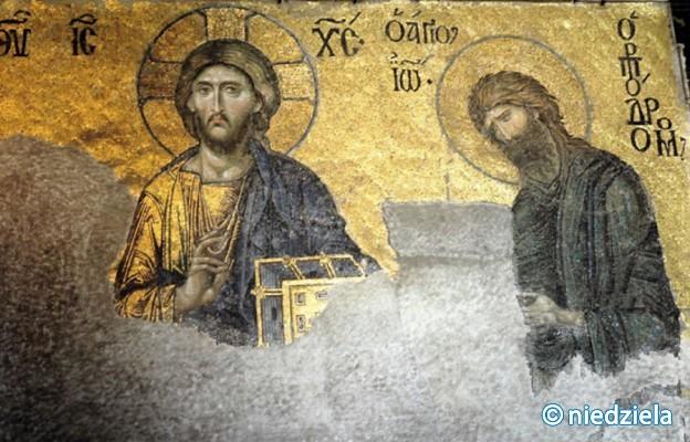Chrystus Pantokrator i św. Jan Chrzciciel – fragment XIII-wiecznej mozaiki Deësis w południowej galerii Hagii Sophii, odsłoniętej w 1933 r.