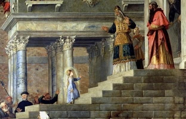 Prezentacja Marii w świątyni obraz Tycjana. By Titian [Public domain], via Wikimedia Commons