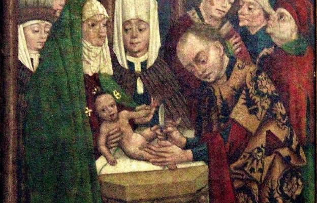 W osiem dni po swojem narodzeniu, podaje się nowo narodzony Zbawiciel raniącemu obrzezania prawu, i przyjmuje na się piętno grzeszników, aby nas od grzechu i jarzma zakonu uwolnił.