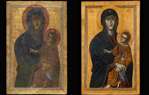 Obraz Matki Bożej Salus Populi Romani przed i  po renowacji