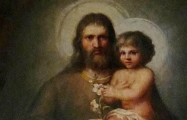 Wizerunek św. Józefa w kościele pw. św. Katarzyny w Łasinie (fragment)