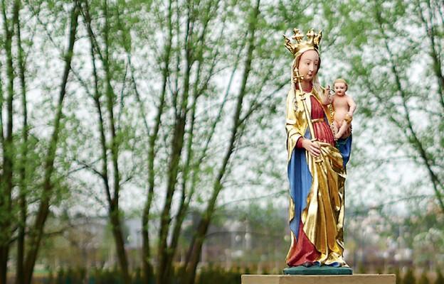 Figura Matki Bożej Rzeszowskiej przy katedrze w Rzeszowie. W tle Park Papieski