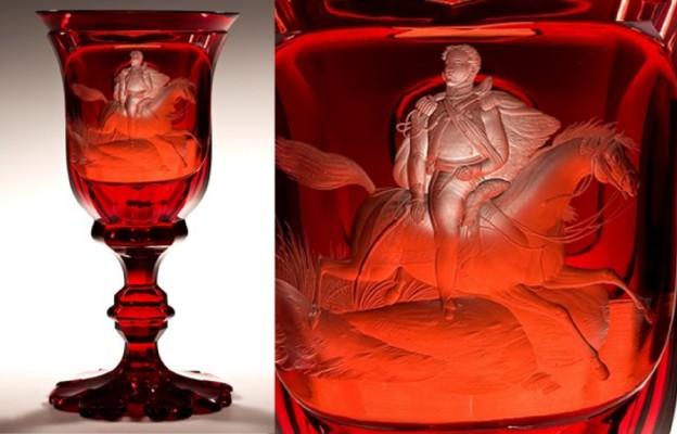 Puchar ze sceną śmierci księcia Józefa Poniatowskiego, Czechy, ok. 1845 szkło: Gräfflich Harrahsche Glasfabrik Neuwelt (Nový Svět)