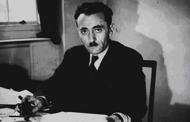 Szmul Zygielbojm w swoim londyńskim biurze, gdzie pzryjmował Jana Karskiego