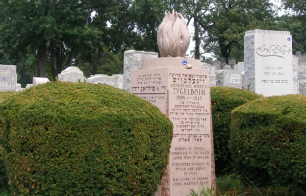 Grób Szmula Zygielbojma na cmentarzu Mont Carmel  na nowojorskim Queensie. Jego prochy przywieźli z Londynu do Nowego Jorku jego przyjaciele z Bundu.