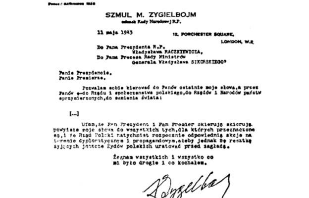 Fragmenty ostatnego listu Szmula Zygielbojma