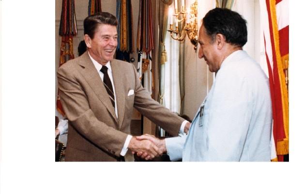 Prezydent Ronald Reagan i jego doradca Richard Pipes