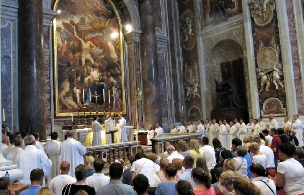 Boże Ciało w Bazylice św. Piotra. Msza św. przy grobe św. Jana Pawła II