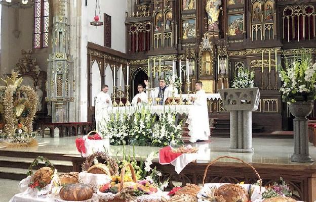 Mszy św. dożynkowej w strzegomskiej bazylice przewodniczył ks. prał. Marek Babuśka