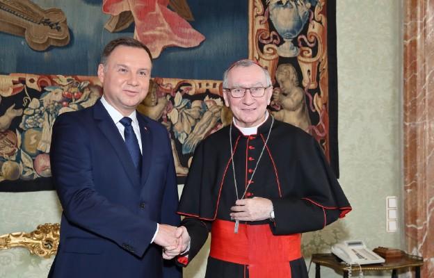 Prezydent Andrzej Duda i kard. Parolin