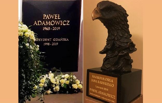 Tablica nagrobna w Bazyylice Mariackiej w Gdansku i  statueta Orła Jana Karskiego