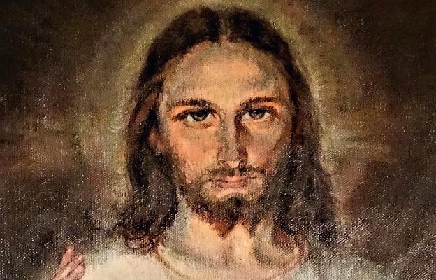 Fragment obrazu Miłosierdzia Bożego pędzla Adolfa Hyły z Siemiatycz, własność prywatna