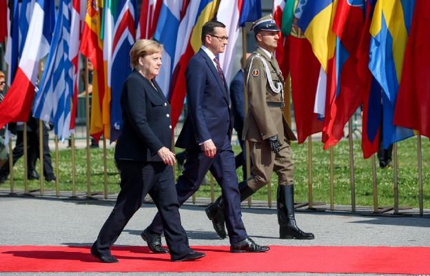 Warszawa, plac Piłsudskiego | Obchody 80. rocznicy wybuchu II wojny światowej, kanclerz Niemiec angela Merkel, premier RP Matusz Morawiecki