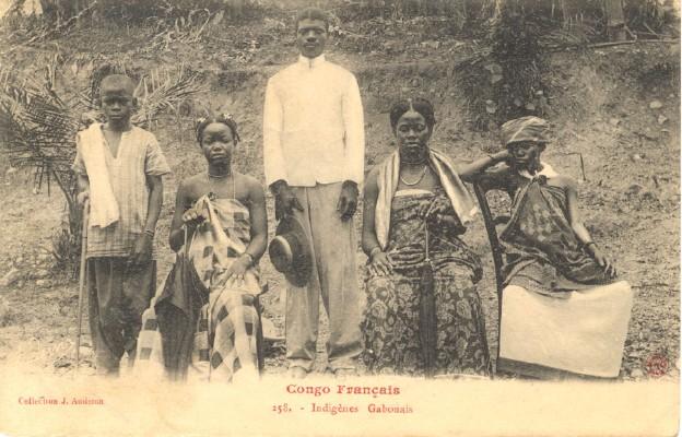 Tubylcy z Gabonu – kolonialna pocztówka z 1905 roku
