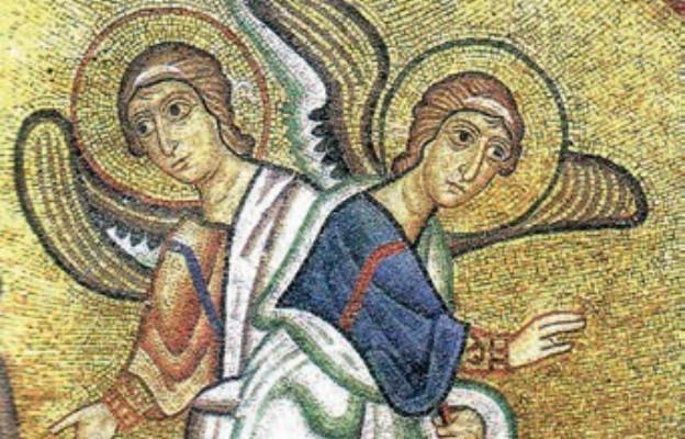 Aniołowie, mozaika w prawosławnym klasztorze Osios Lukas, Grecja