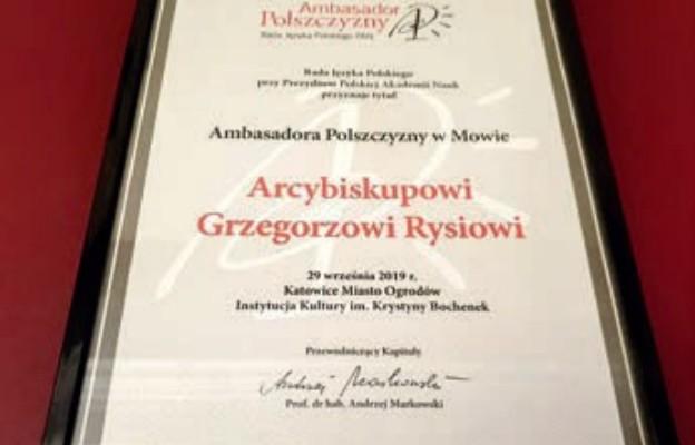"""Abp Grzegorz Ryś """"ambasadorem polszczyzny w mowie"""""""