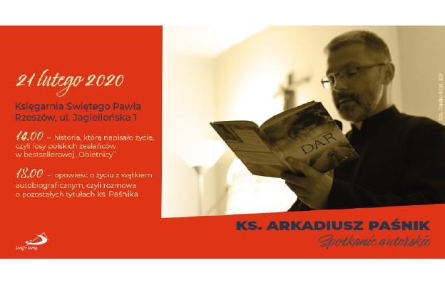 Spotkanie autorskie z ks. Arkadiuszem Paśnikiem 21 lutego 2020 r. w Rzeszowie