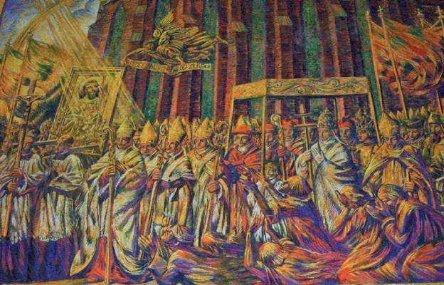 Procesja z relikwiami św. Rocha z udziałem papieża i kardynałów (malowidło z kościoła w Słocinie)