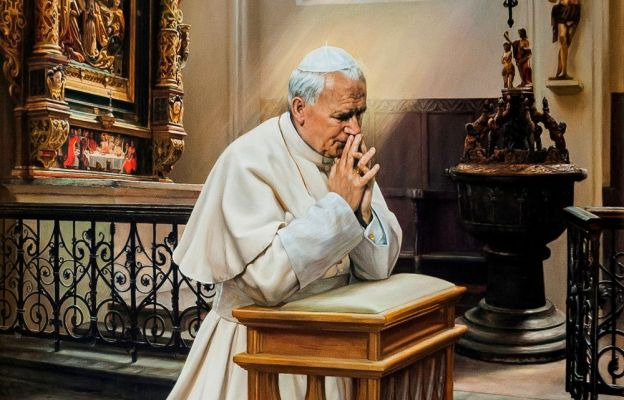 Obraz św. Jana Pawła II z toruńskiej katedry Świętych Janów
