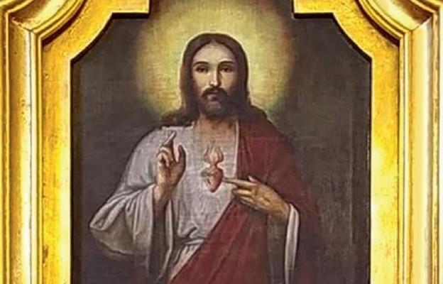 Obraz Serca Jezusowego z kościoła parafi alnego w Starym Dzikowie