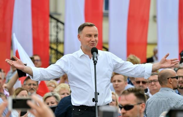 Trzebnica, 12.06.2020. Prezydent Andrzej Duda