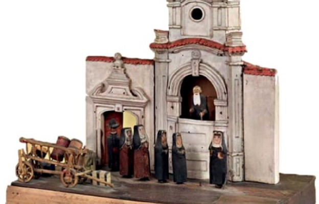 Miniatura przedstawiająca wejście do klasztoru Panien Benedyktynek w Sandomierzu
