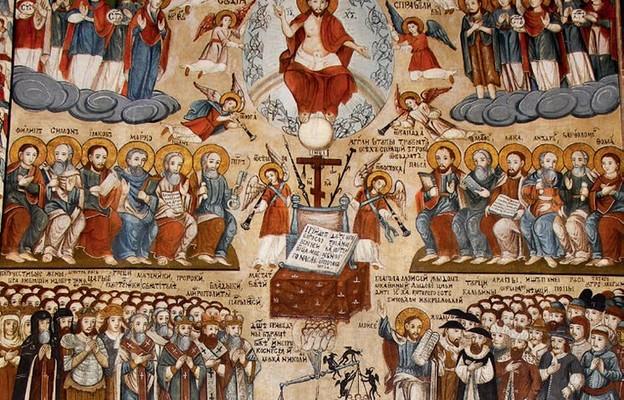 Niebo – fragment ikony Sądu Ostatecznego ze Świątkowej Małej (parafia Desznica)