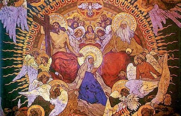 Fragment polichromii Włodzimierza Tetmajera w sosnowieckiej katedrze