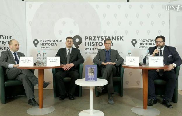 Od lewej: dr hab Paweł Skibiński, dr hab. Michał Białkowski, prof. Jan Żaryn, dr hab. Rafał Łatka.