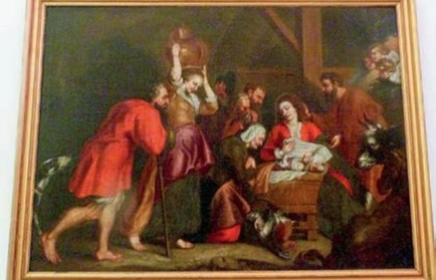 Adoracja Nowonarodzonego przez pasterzy –  obraz anonimowego autora ze zbiorów Muzeum Diecezjalnego w Santarem