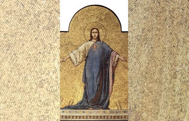 Fragment mozaiki z bazyliki najświętszego Serca Pana Jezusa w Krakowie, obrazującej hołd narodu polskiego Sercu Bożemu