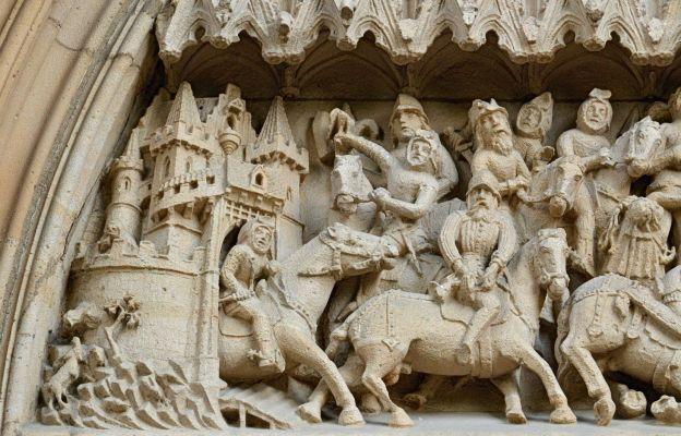 Nawrócenie świętego Pawła na portalu bazyliki w Strzegomiu