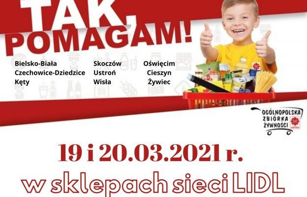 Zbiórka żywności odbywa się w Lidlu.