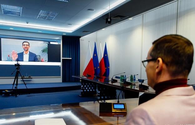 Szef Google'a Sundar Pinachi dziękuje premierowi Morawieckiemu w dniu otwarcia Google Cloud w Polsce