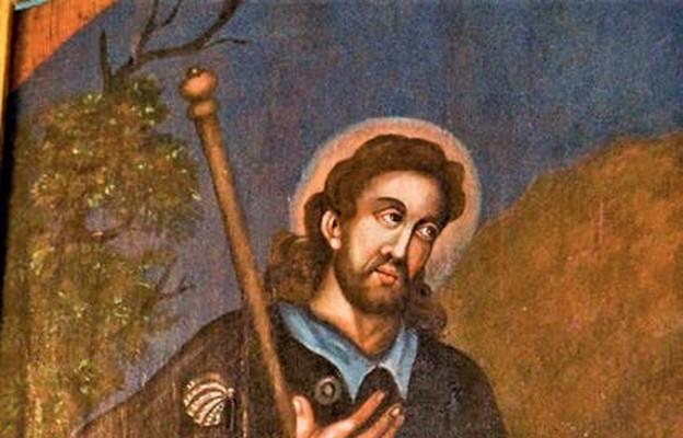 Ten odrestaurowany obraz św. Jakuba wisi w zakrystii kościoła w Szczaworyżu